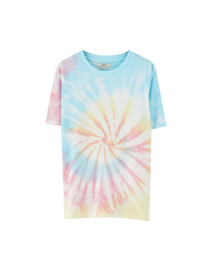 Pastel-coloured tie-dye T-shirt