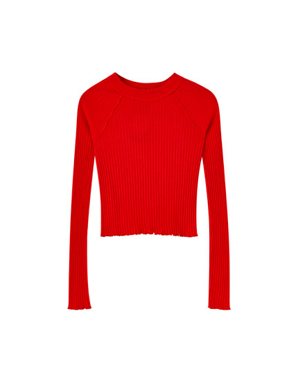 Ribbed long sleeve T-shirt with topstitching