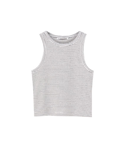 Basic sleeveless cropped T-shirt