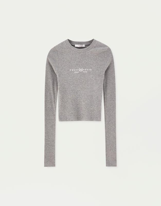 Basic embroidered T-shirt - PULL BEAR 4edd9cae56d