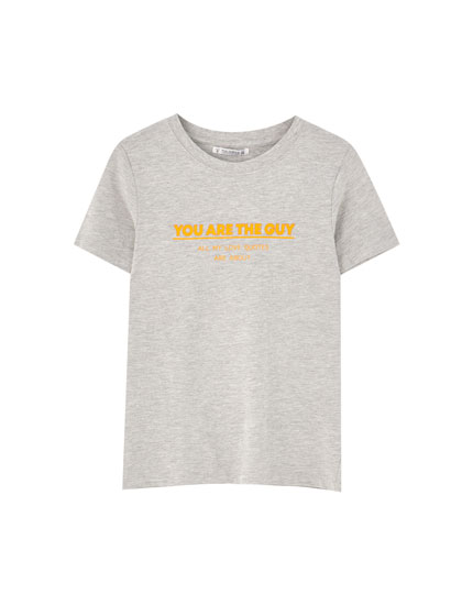 Basic T-shirt with slogan print