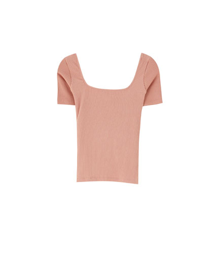 Ribbed T-shirt with square neckline