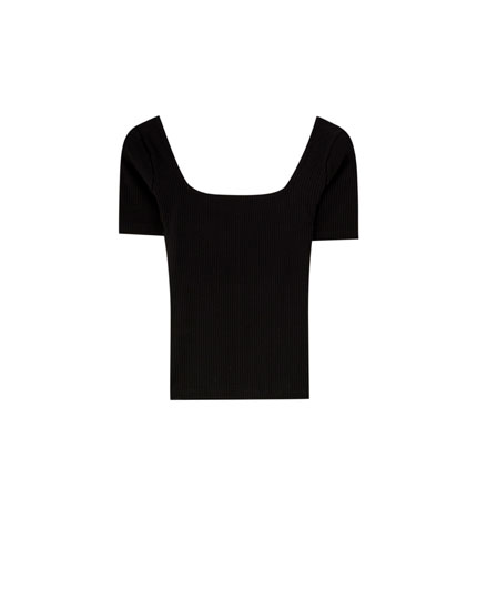 Ribbed top with a square-cut neckline