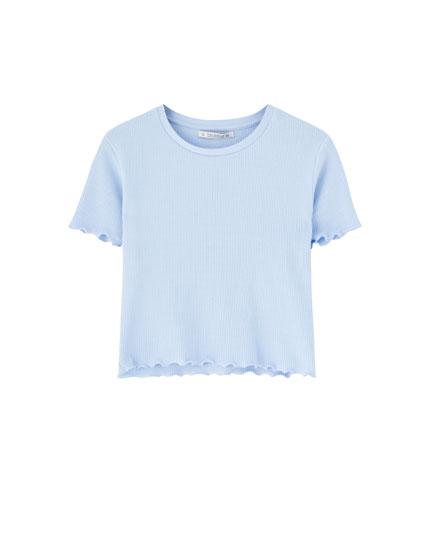 Camiseta básica manga corta cuadrillé