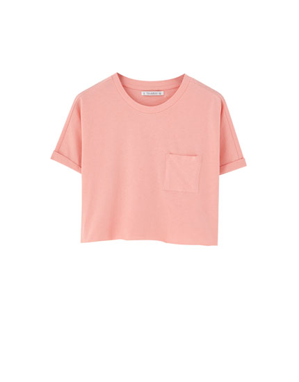 Basic cropped T-shirt with rolled-up sleeves