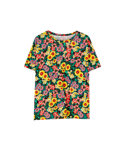 T-shirt with all-over floral print