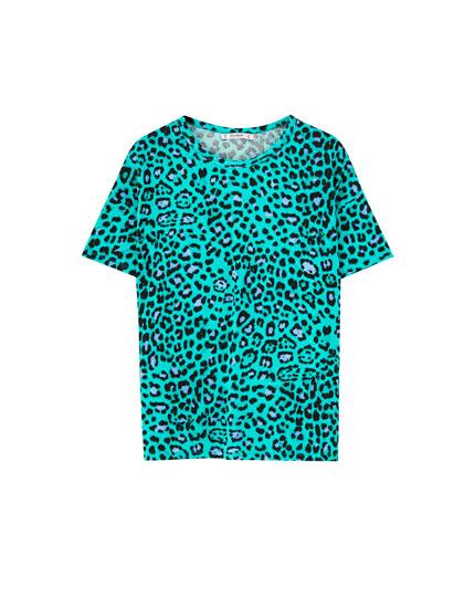 Green leopard print T-shirt