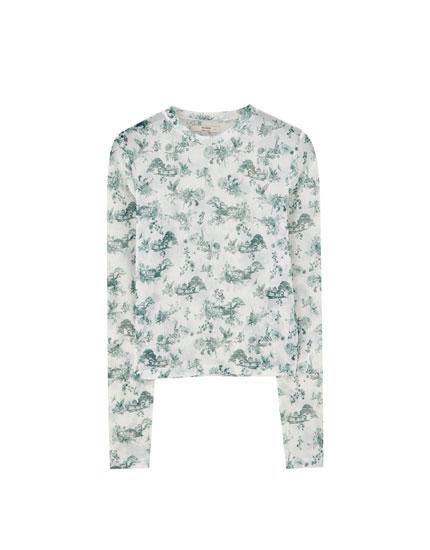 Camiseta tul estampado toile de jouy