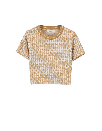 T-shirt with all-over jacquard logo print