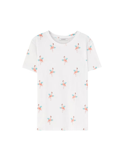 All-over flamingo print T-shirt