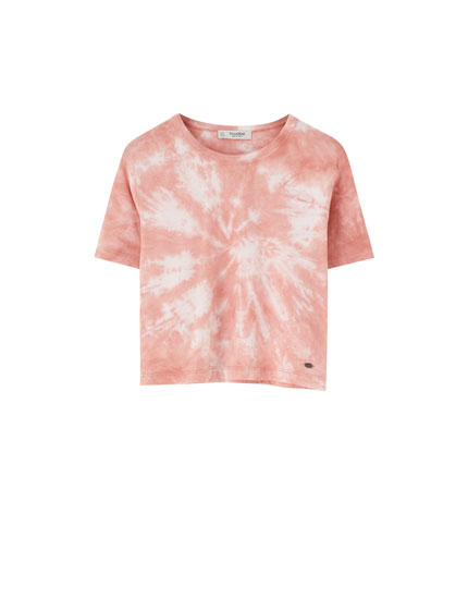 Tie-dye T-shirt with wide short sleeves