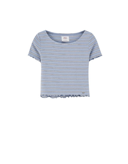 Tight-fitting ribbed T-shirt with stripes