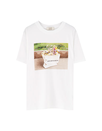Flower photo print T-shirt