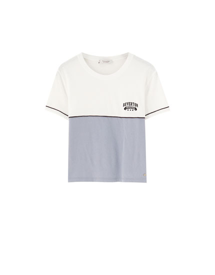 Embroidered T-shirt with contrast colour block