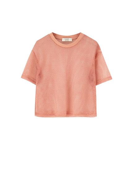 T-shirt med net og korte ærmer