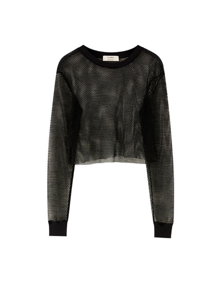 Long sleeve mesh T-shirt