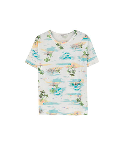 Contrast palm tree T-shirt