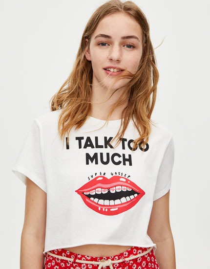 Cropped T-shirt with illustration