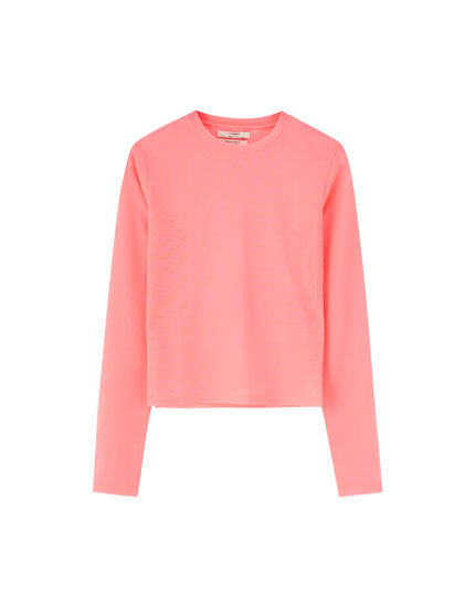 Long sleeve tulle T-shirt