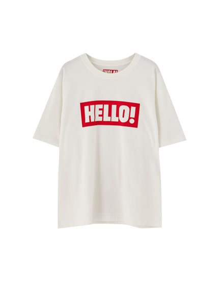 T-shirt inscription « Hello! »