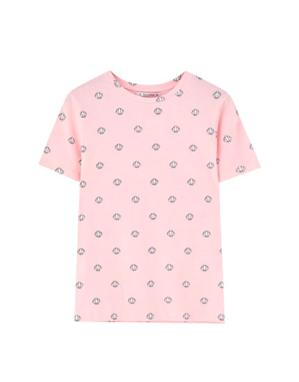 All-over seashell print T-shirt