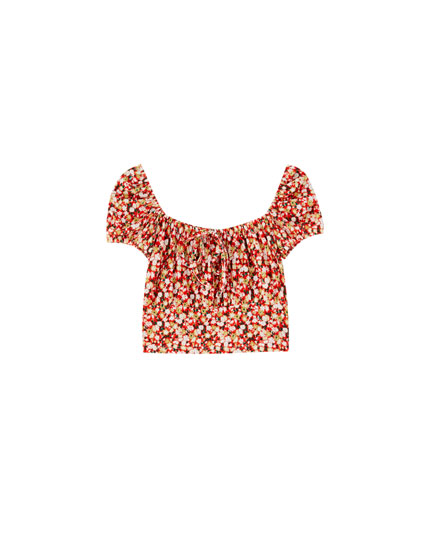 Floral top with a square-cut neckline