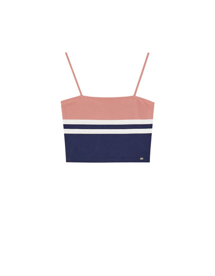 Pink colour block strappy top