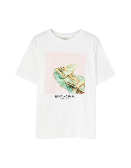 White chameleon T-shirt