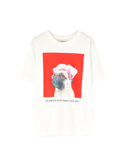 White T-shirt with dog