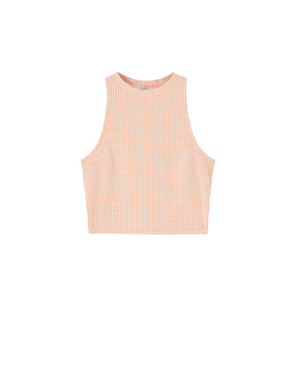 Sleeveless check top