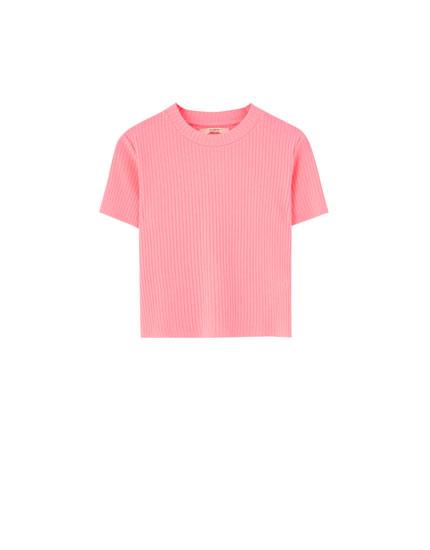 dcd9052d16d6 T-shirt maille côtelée manches courtes col montant