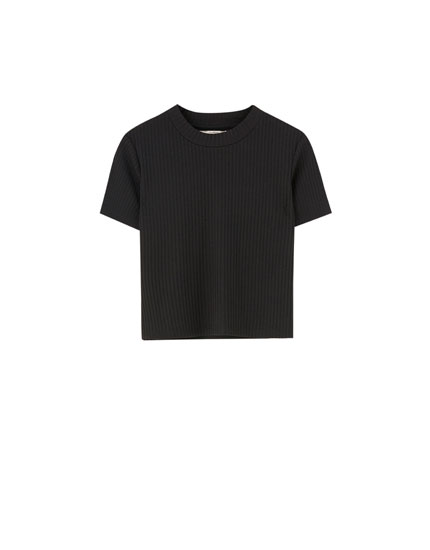 84ef38de6cac T-shirt maille côtelée manches courtes col montant