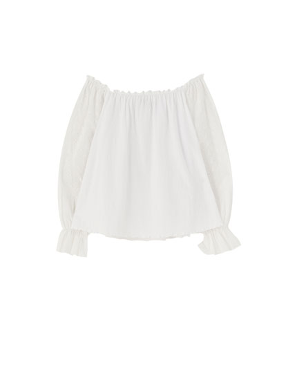 T-shirt broderie suisse blanc