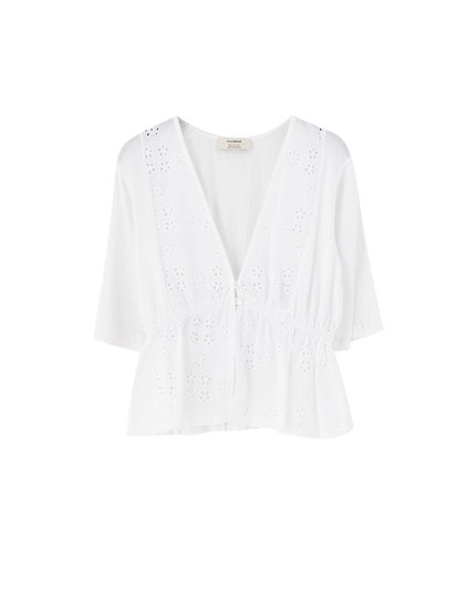 V-neck top with Swiss embroidery