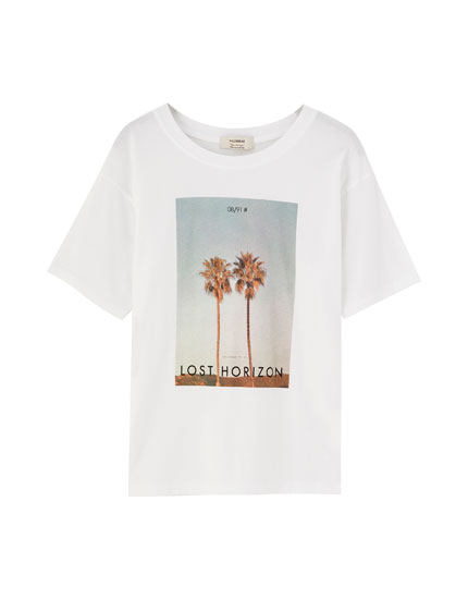 Short sleeve T-shirt with palm tree photo