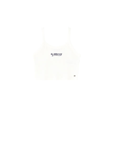 Top with straps and embroidery on the chest