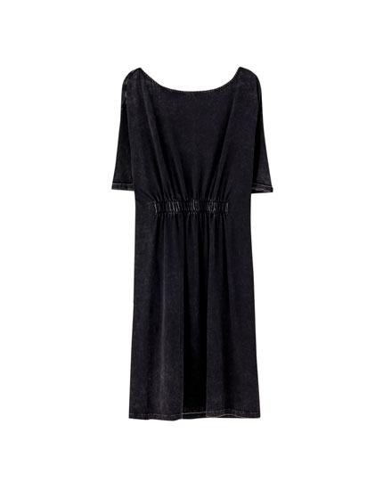 Мини-платье со сборкой на талии