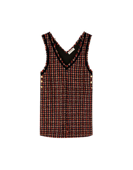 Tweed V-neck pinafore dress