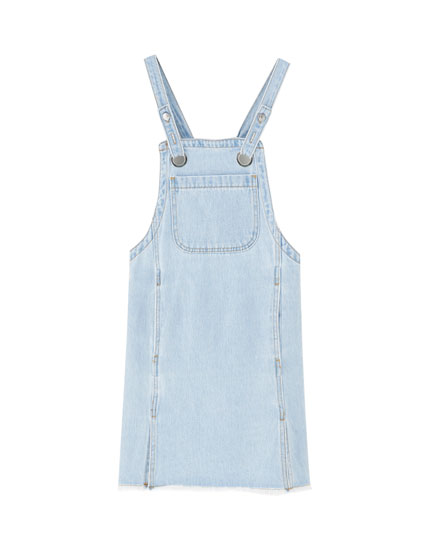 Denim pinafore dress with eyelets