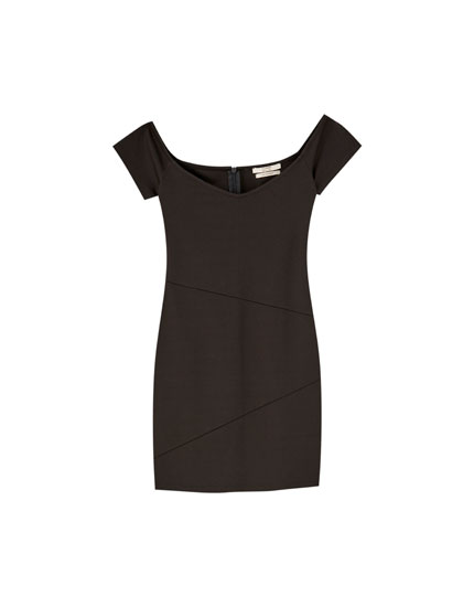 Mini dress with Bardot neckline