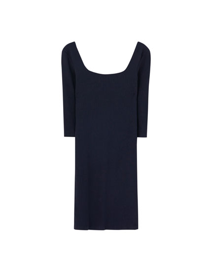 Short dress with square-cut neckline