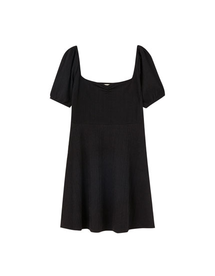 Round neck mini dress