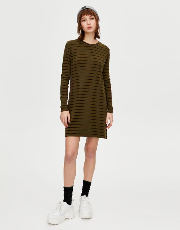 Ribbed long sleeve dress - PULL BEAR f0c229d36b6c