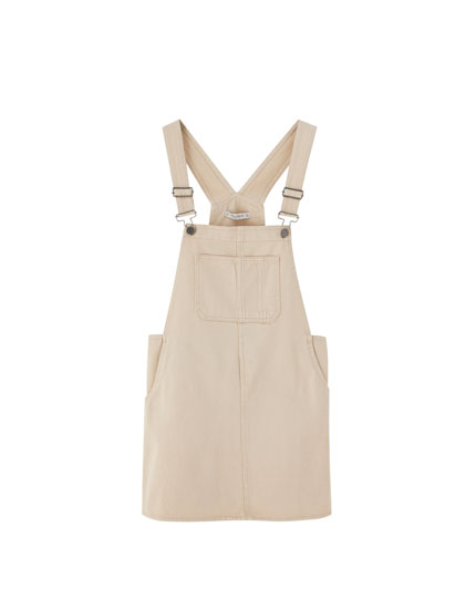 Sand pinafore dress with pouch pocket