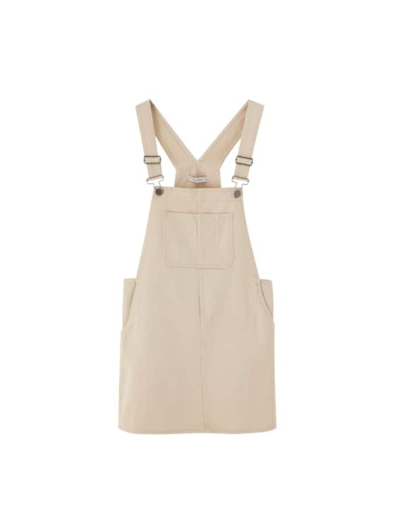 258501b0a31 Sand pinafore dress with pouch pocket - PULL BEAR