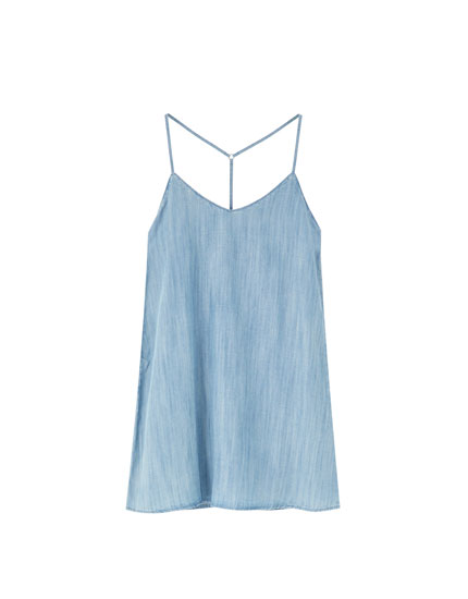 Short strappy denim dress