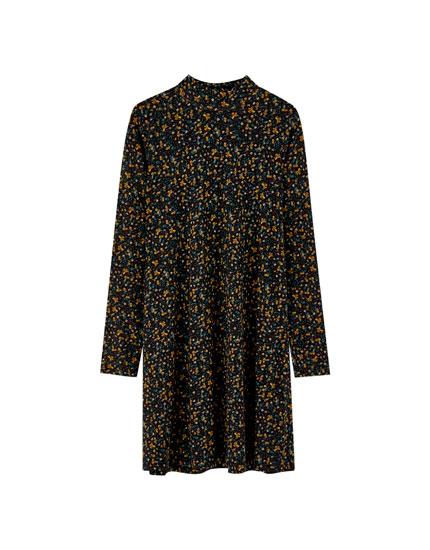 Red leopard print high neck dress