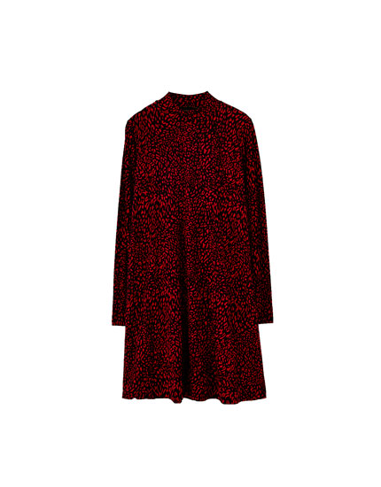Red leopard print high neck dress