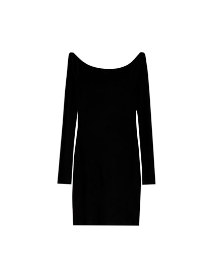 Ribbed boatneck dress