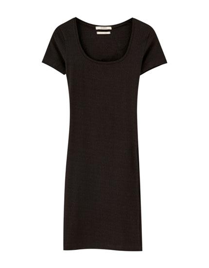 Basic midi dress with square-cut neckline